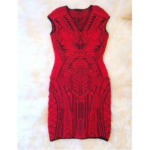 RVN Red and Black Jacquard Mini Dress